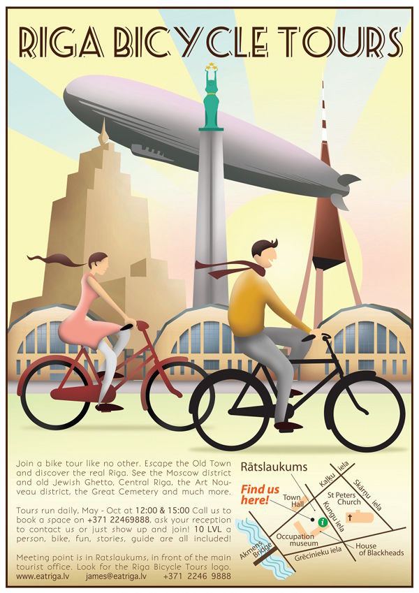 Riga bike tours poster for 2011